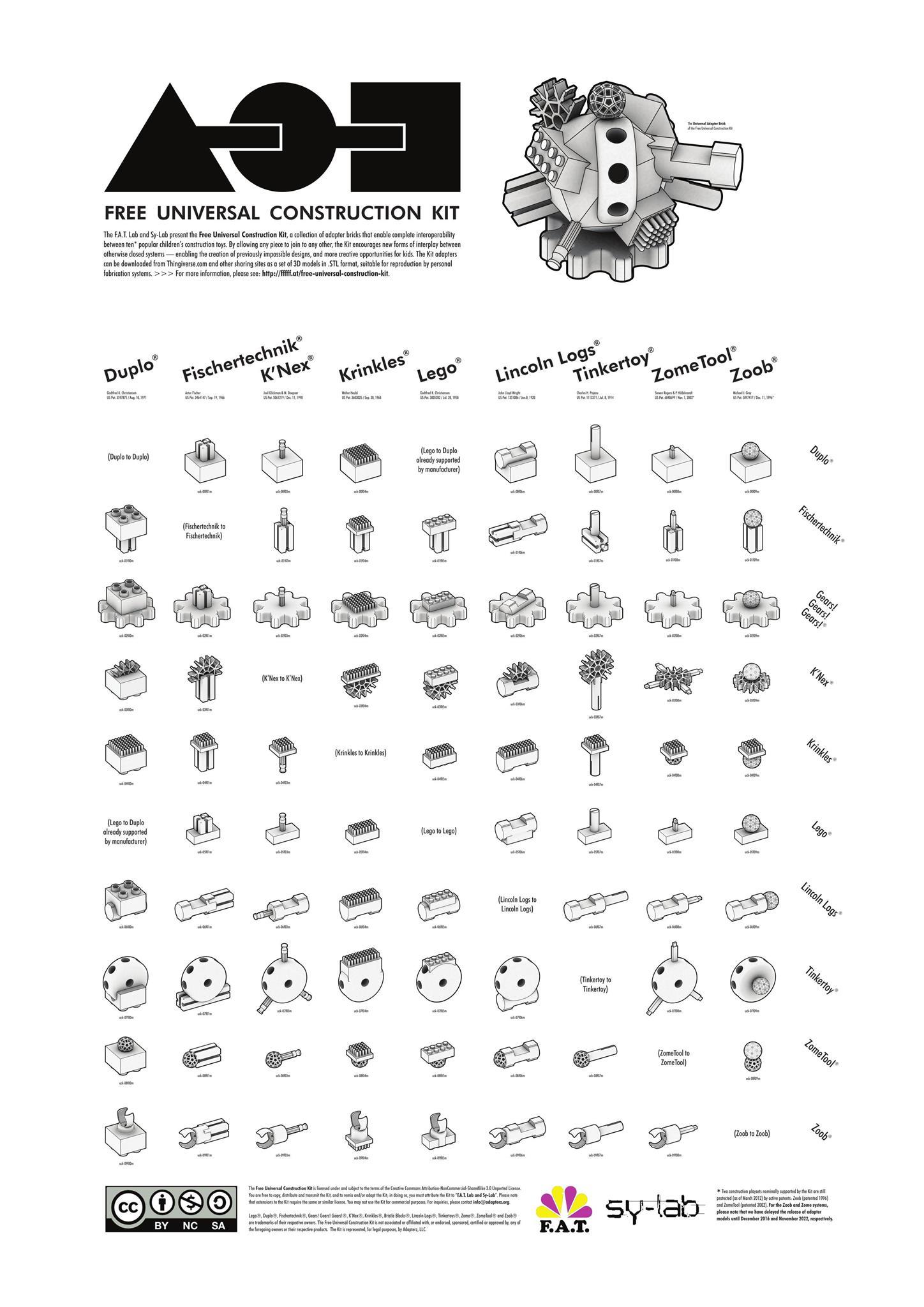 Free universal constrution kit 3D blanc