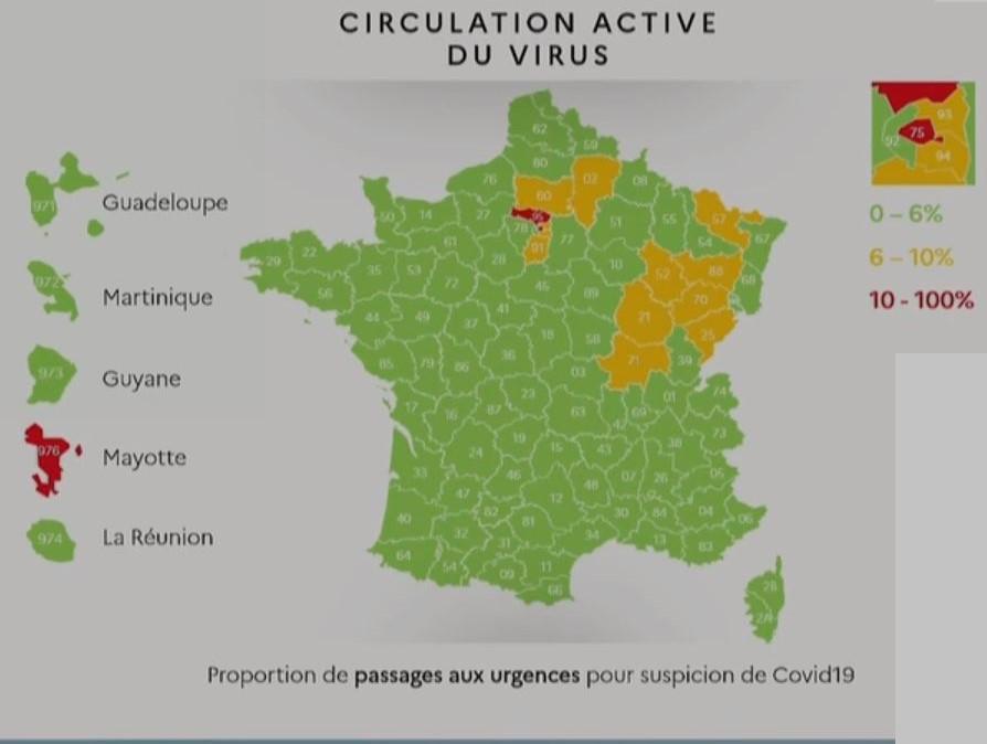 Carte de circulation du Virus en France