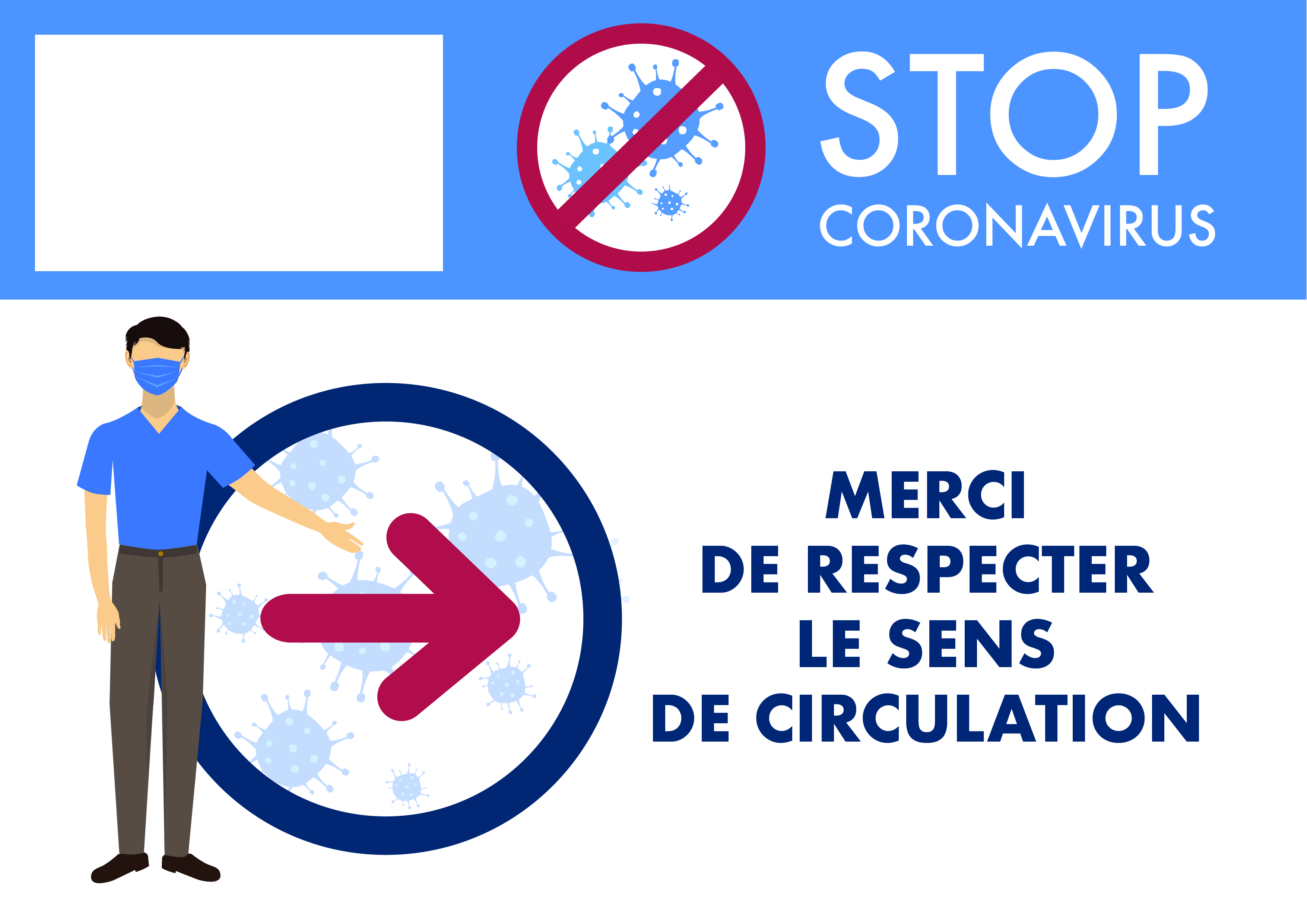 Poster signalétique sens de circulation 01