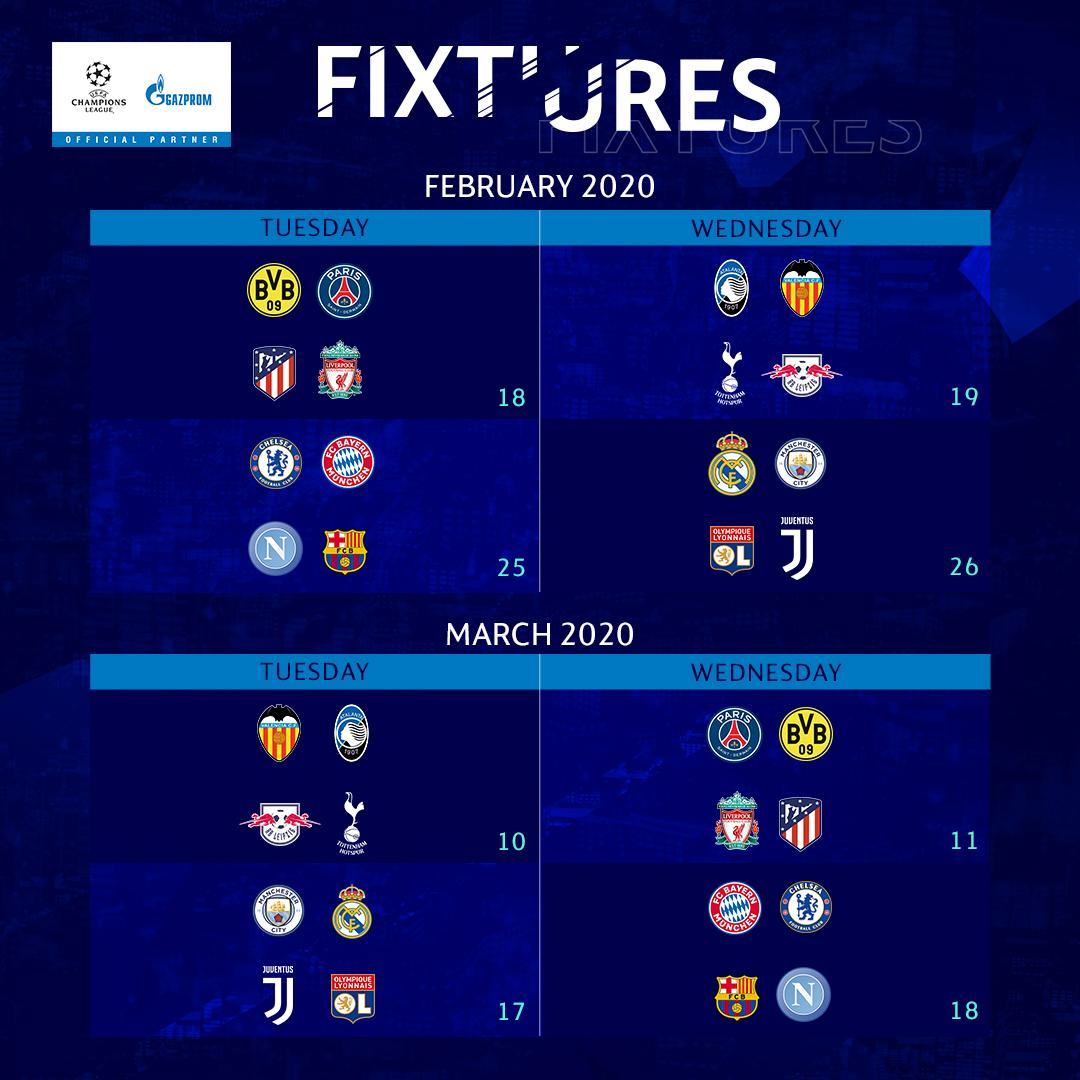 Calendrier des huitièmes de finale Ligue des Champions 2019-2020