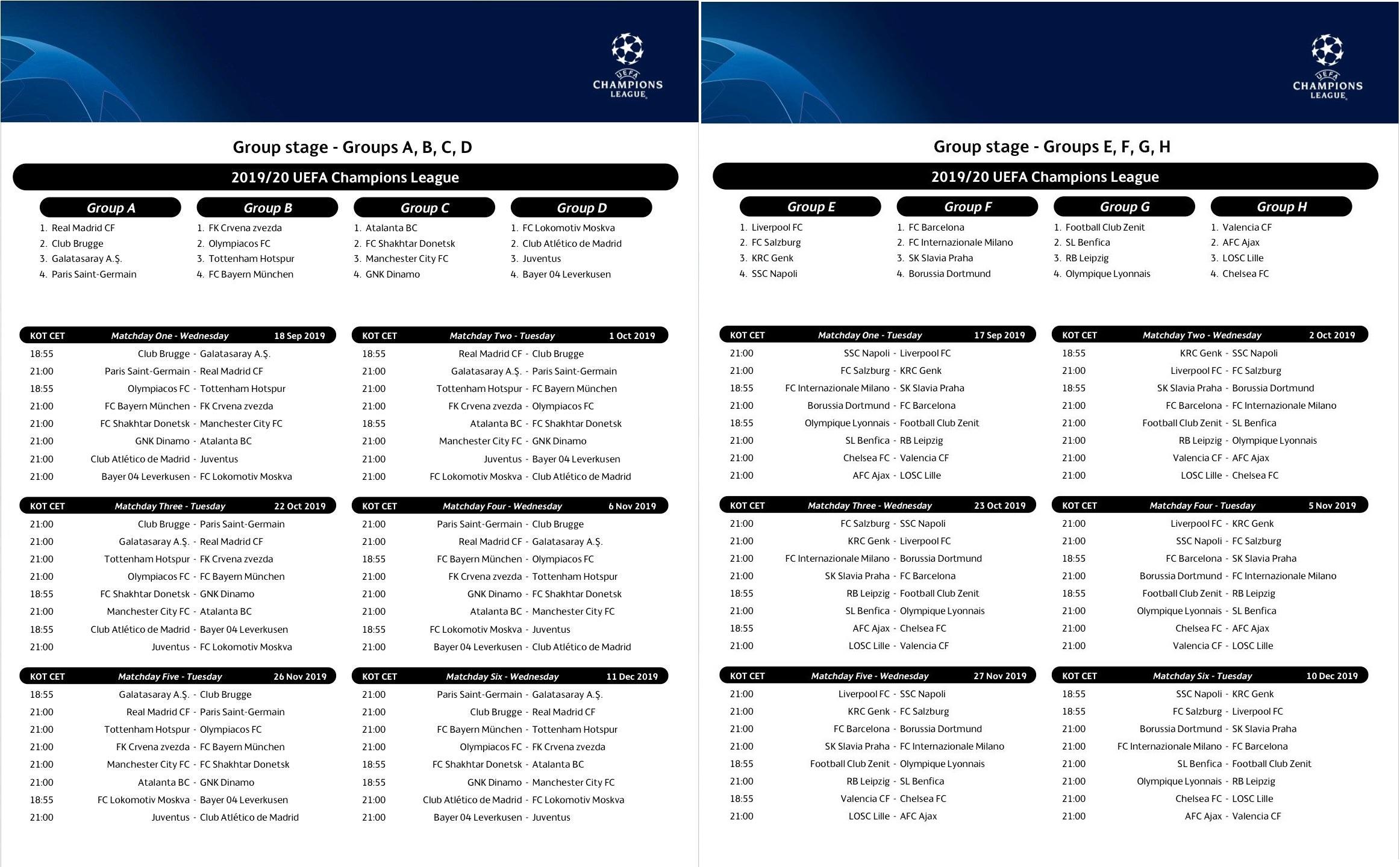Champions League 2019 Calendrier.Telecharger Fonds D Ecran Calendrier De La Ligue Des