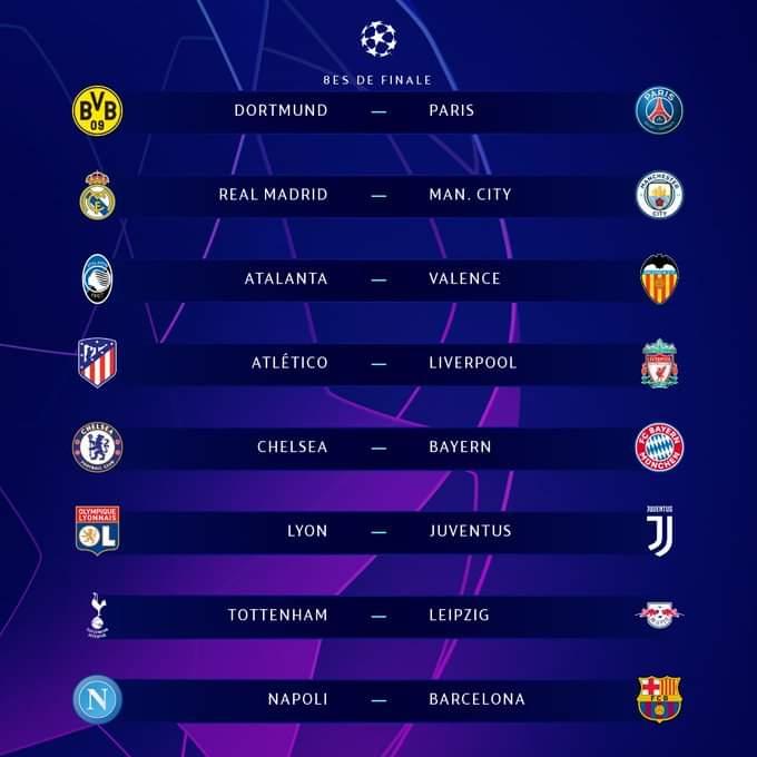Tirage 8emes Ligue des champions 2019-2020