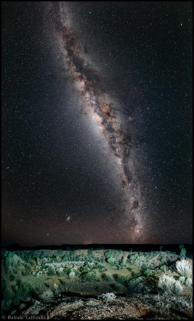 Les cratères de Henbury par une nuit étoilée